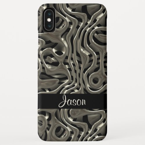 3D metal design with custom name iPhone XS Max Case